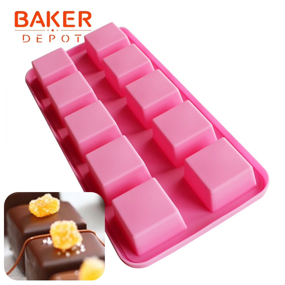 BAKER DEPOT Սիլիկոնային բորբոս շոկոլադե օճառի համար քառակուսի հրուշակեղենի պատրաստման գործիք, սառցե խորանարդի սկուտեղ պուդինգ, ժելե տորթի թխման ձև 10 փոս