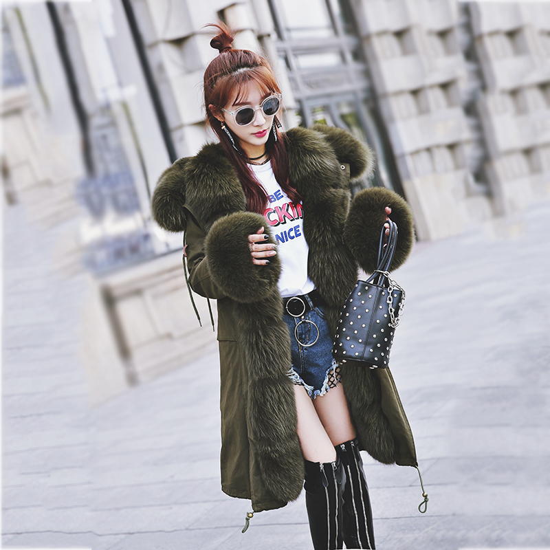 maomaokong real fox fur 2017 new fashion winter coat long hood Rex Rabbit hairpin to overcome jacket girl 2017 winter new clothes to overcome the coat of women in the long reed rabbit hair fur fur coat fox raccoon fur collar