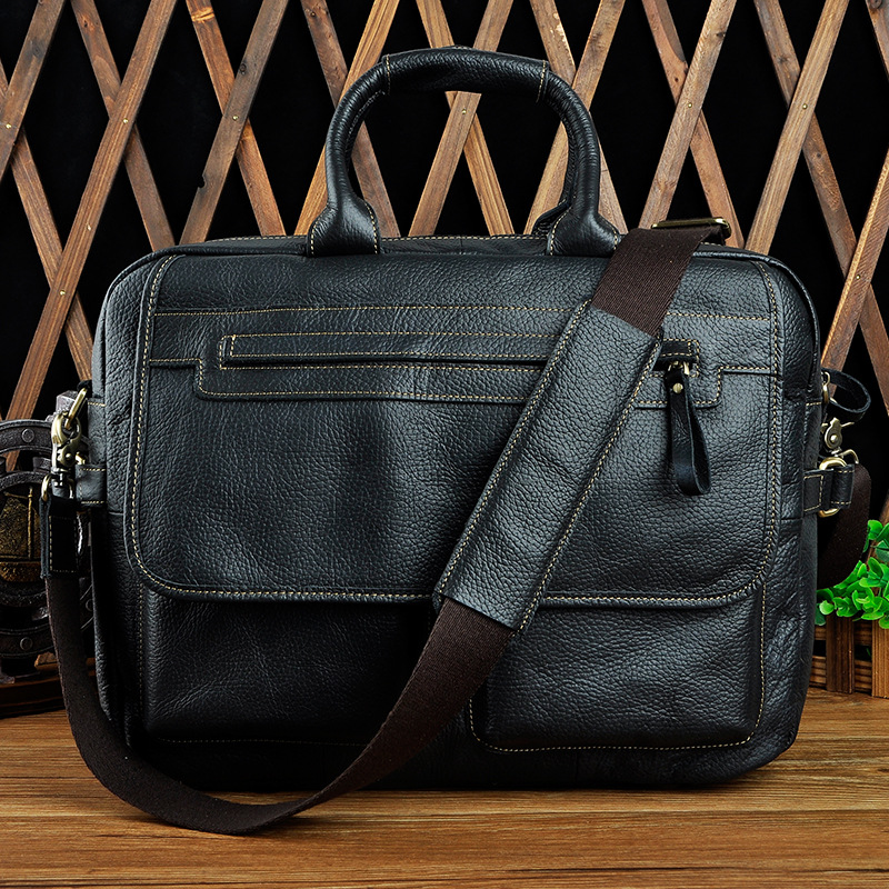 Retro Crazy Horse Leather Men's Briefcase 14 Inch Laptop Handbags Business Shoulder Messenger Bag Genuine Leather Computer Bags