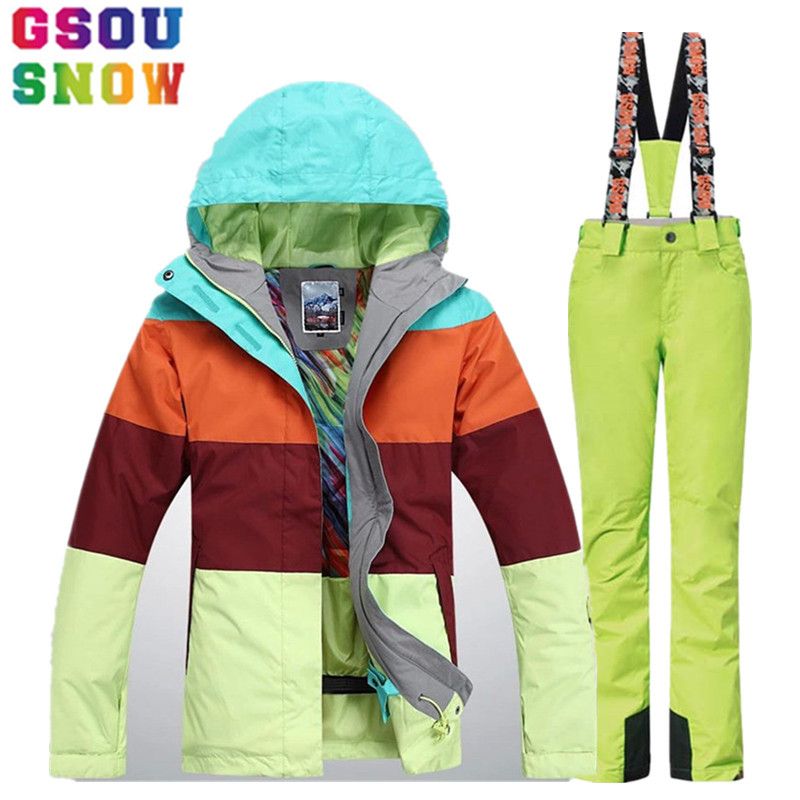GSOU SNOW Brand Ski Suit Women Ski Jacket Pants Waterproof Mountain Skiing Suit Winter Outdoor Snowboard Jacket Pants Sport Coat gsou snow brand ski suit men ski jacket pants snowboard sets waterproof mountain skiing suit winter male outdoor sport clothing