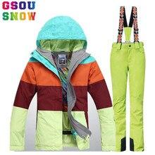 Marke GSOU SCHNEE Skianzug Frauen Skijacke Hosen Wasserdicht Mountain Ski Anzug Winter Outdoor Snowboard Jacke Hosen Sport Mantel