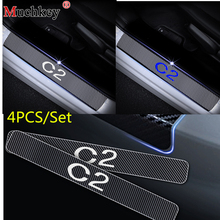 For Citroen C2 Car Door Sill Protector Carbon Fiber Vinyl Stickers Car Styling Door Sill Scuff Plate Welcome Pedal Sticker 4Pcs 14 8v 58wh new original laptop battery for dell xps l511z l511x l412z 14z 15z series v79yo v79y0