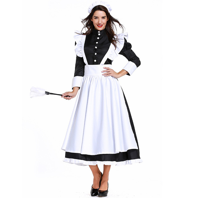 Umorden Deluxe Black White Victorian Maid Costume Colonial Women Dress  Apron Halloween Classic Costumes Cosplay 089ca0fa25c5