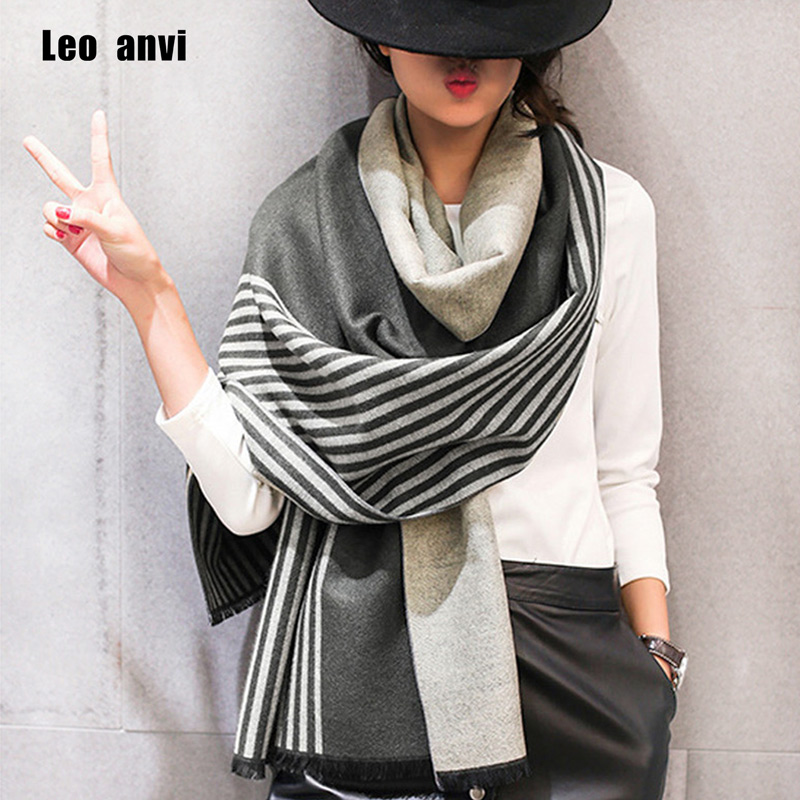 Leo Anvi 2019 Brand Women Scarf Winter Fashion Bandana Cachecol Feminino Warm Cashmere Shawl Luxury Stripe Poncho Femme Pashmina