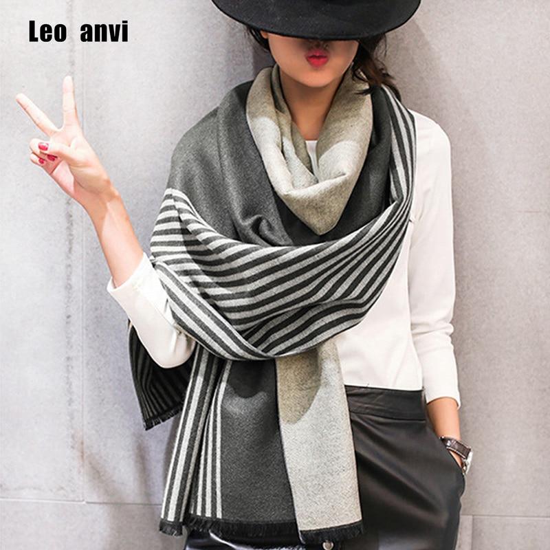 Leo anvi 2019 marca feminina cachecol inverno moda bandana cachecol feminino quente cashmere xale luxo listra poncho femme pashmina