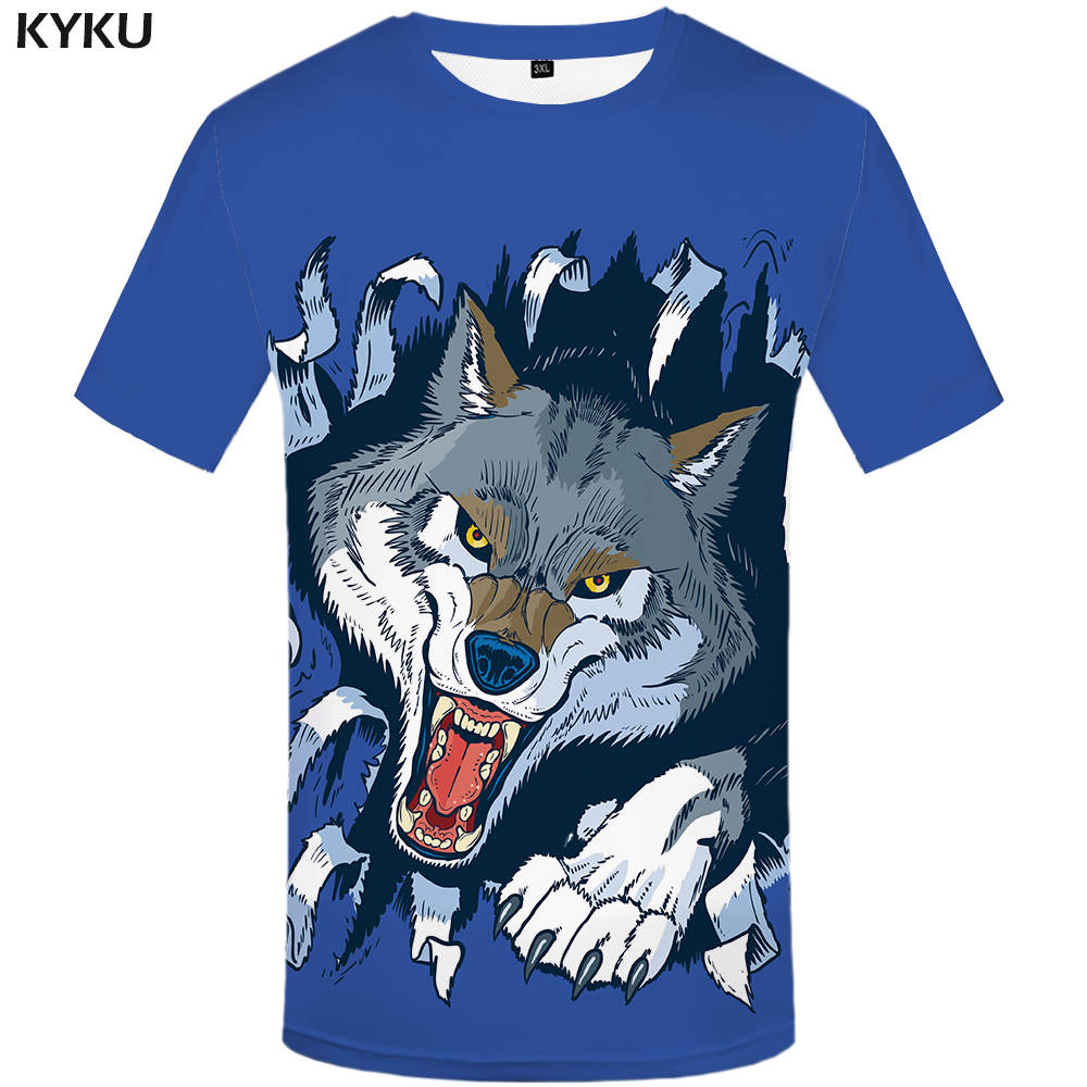New Wolf T-shirt Winter Shirts Blue Tee 3d Shirts  Clothes Women 3d Top Casual Fitness Female