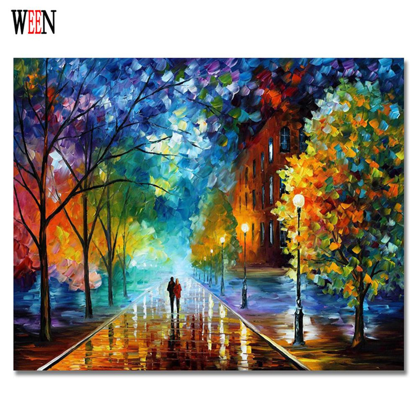 WEEN Romantic Walking Pictures by number DIY Handpainted Lover in the Rain Oil Painting Landscape by number For Home Decor Gift