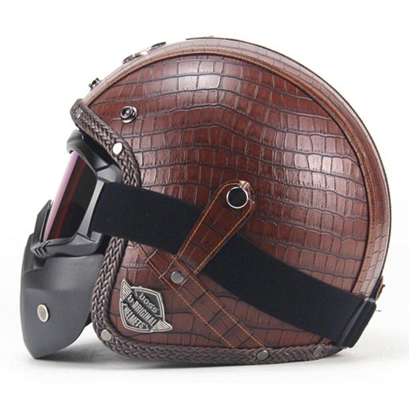Бесплатная доставка ПУ кожаные шлемы 3/4 мотоциклетный Чоппер велосипедный шлем с открытым лицом винтажный мотоциклетный шлем с Goggle Mask