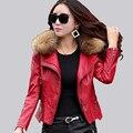 Плюс размер 4XL Натуральный мех воротник женщин Кожаная куртка Пальто новый 2017 весна осень тонкий моды женские пальто куртки Мотоцикла