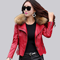 Plus size 4XL Real fur collar women Leather jacket Coat new 2017 spring autumn slim fashion female coats  Motorcycle jackets