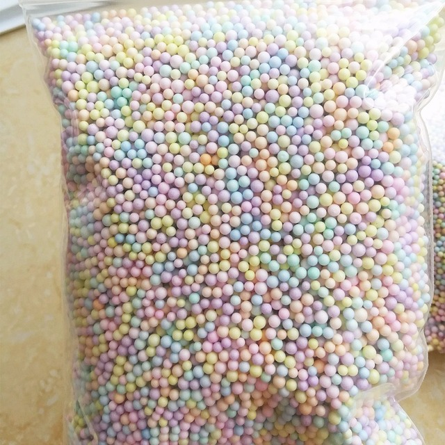 2-3.5mm 16000pcs New DIY Slime Balls Not Bleeding Color Foam Beads Slime Supplies Filler For Fish Tank Decoration Toy