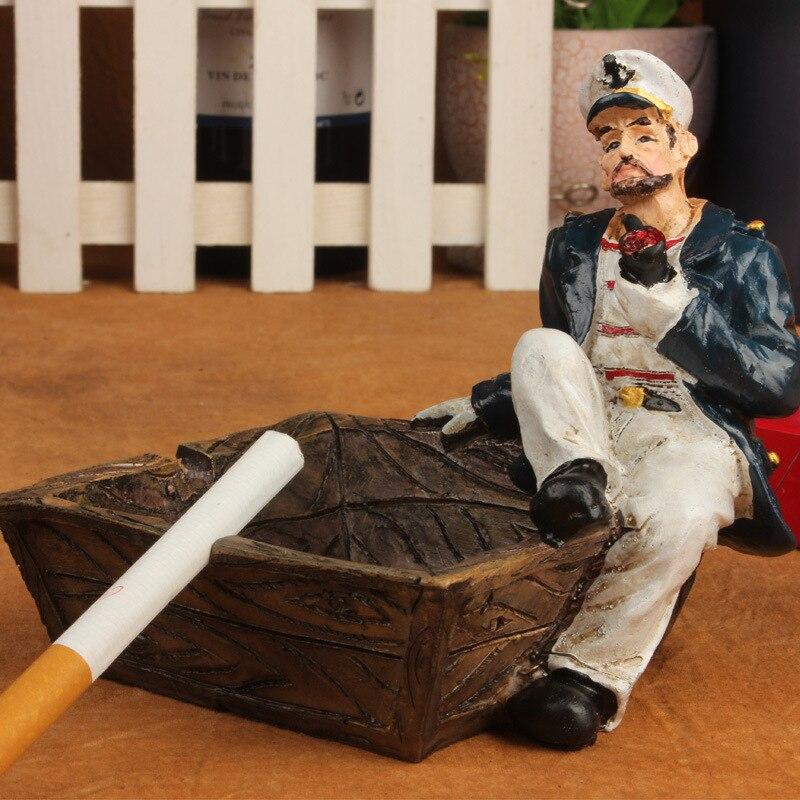 Продавать Ретро Личность пират творческий пепельница подарок Европейский стиль Аксессуары Sailor трубы гостиная журнальный столик украшения