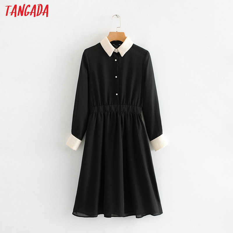 Tangada Women Black Pleated Dress Buttons Long Sleeve 2019 Spring Knee Length Woman Tunics Elegant Lady Dresses TL38
