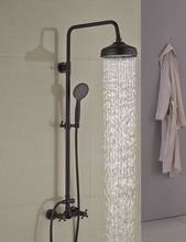 Wholesale And Retail Modern Oil Rubbed Bronze 8″ Rain Shower Head Wall Mounted Shower Column Dual Handles W/ Hand Shower Tap