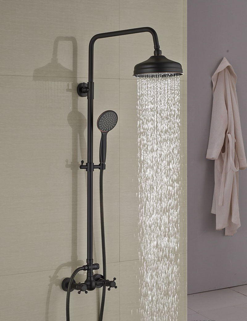 Wholesale And Retail Modern Oil Rubbed Bronze 8 Rain Shower Head Wall Mounted Shower Column Dual Handles W/ Hand Shower Tap