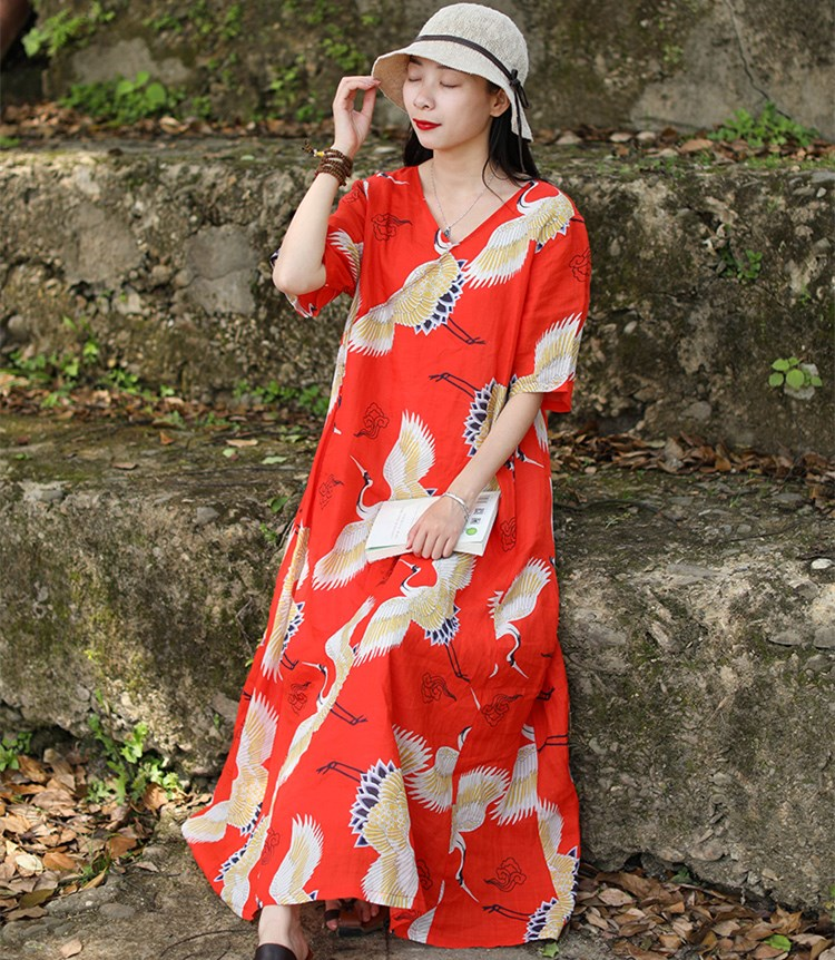 Jessica's Store Summer New Women Vintage Red-Crowned Crane Print Short Sleeve V-Neck Casual Loose Ramie  Red Long Dress