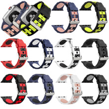 Silicone Watchband for Apple Watch Series 1 2 3 4 44mm 40mm 42mm 38mm Strap Band for IWatch Sports Band Bump Wrist Band