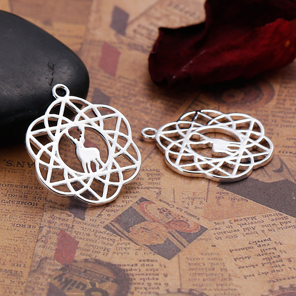 DoreenBeads Copper Silver Color Flower Of Life Charms Deer Animal Hollow DIY Jewelry Component 28mm(1 1/8) x 23mm( 7/8), 2 PCs