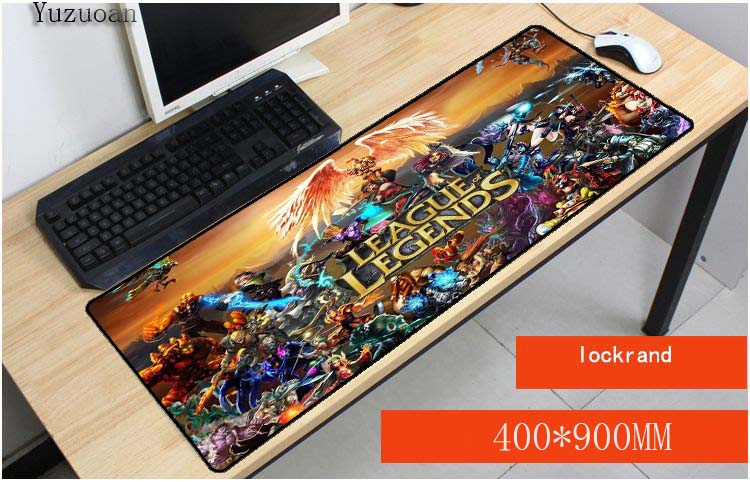 Yuzuoan 900x400x3mm large locking edge League of Legends gaming mouse pad non-slip table laptop mousepad to lol mats for Gamer