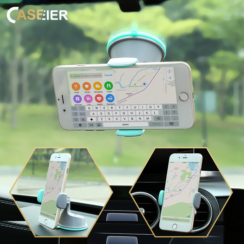 CASEIER Car Phone Holder For Mobile Phone Universal Air Vent + Dashboard Windshield 2 in 1 Car Holders Stand telefon tutucu