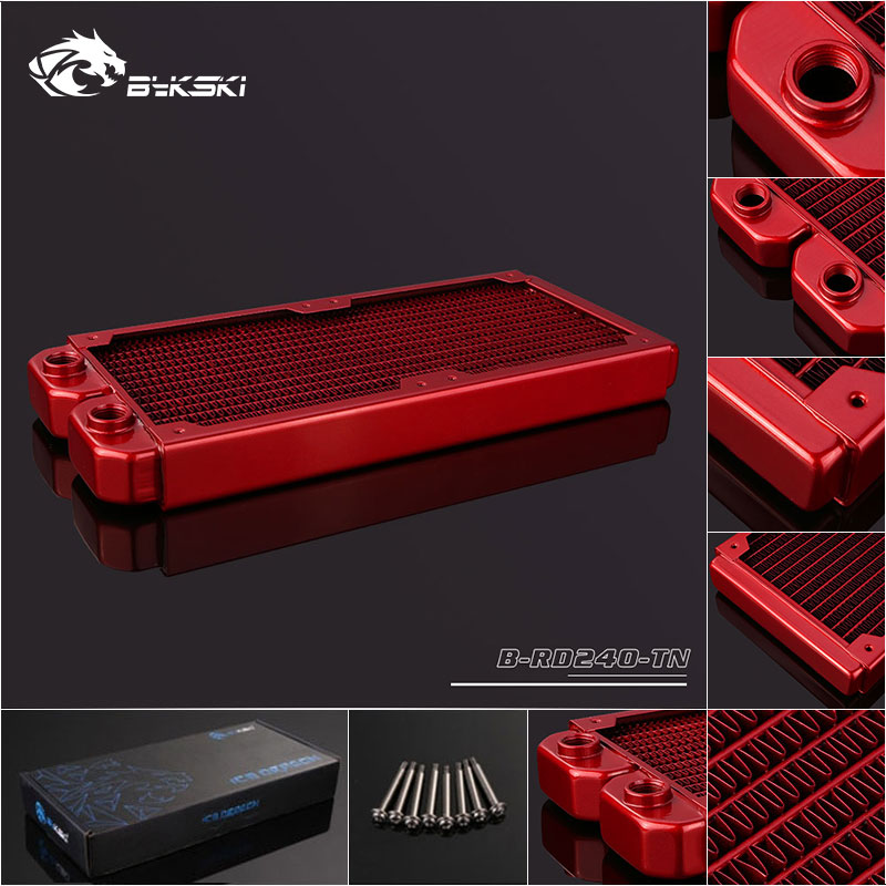 Bykski B-RD240-TN 240mm 2 x 12cm Copper Radiator Water Cooling Red