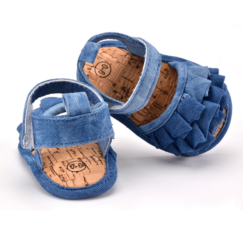 Recién nacido bebé de la mirada de jean zapatos de verano cabritos de las muchac