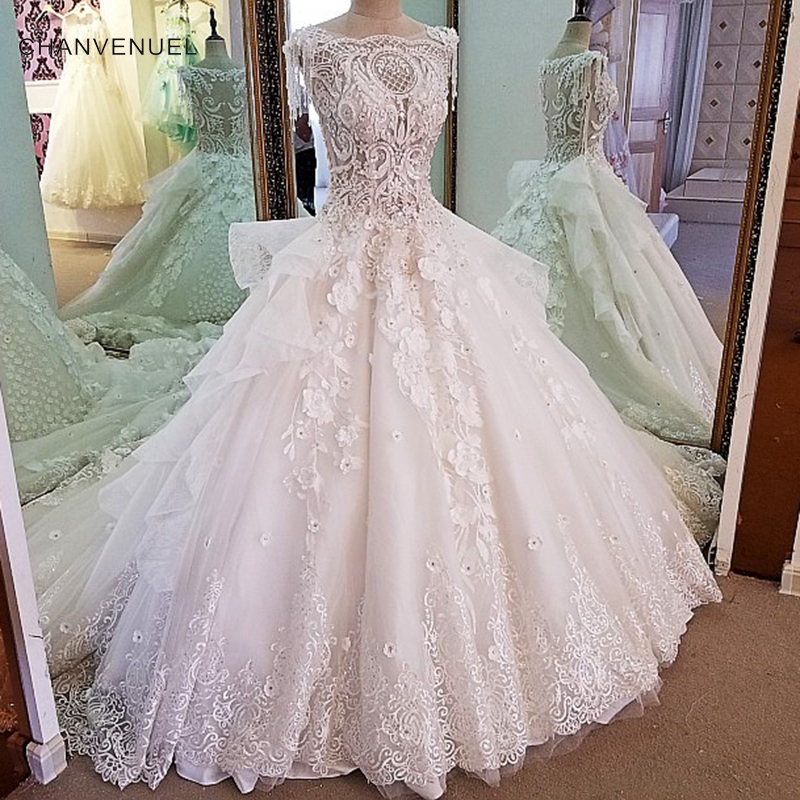 f765f4931079b US $339.65 49% OFF|LS00072 Luxury ivory bridal gown 3D flowers sleeveless  beading ball gown lace wedding dress vestidos de noivas real photos 2018-in  ...