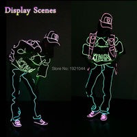 Hip Hop Fashion Evening Party Glowing DIY Supplies EL Cloth Luminous Costumes Men Dance Clothes For