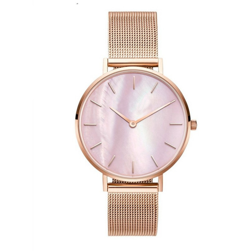 Mavis Hare Pink Seashell Mesh Women Watches Pearl dial Wristwatch with Stainless Steel Mesh Bracelet without LOGO Watch