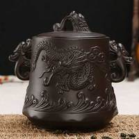 אחסון תה Yixing תה סיר קרמיקה Dehua גס רטרו סיר תה איטום צנצנת קרמיקה פניקס דרקון ההקלה טנק