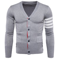 2018 New Spring Autumn Sweater Collar Cardigan Mens V Neck Mens Sweater Coat
