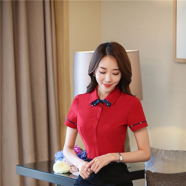 9a5b37e1 Red Fashion Summer Short Sleeve Blouses Professional Ladies Tops Shirts  Office Work Wear Beauty Salon Blouse Shirt Clothing