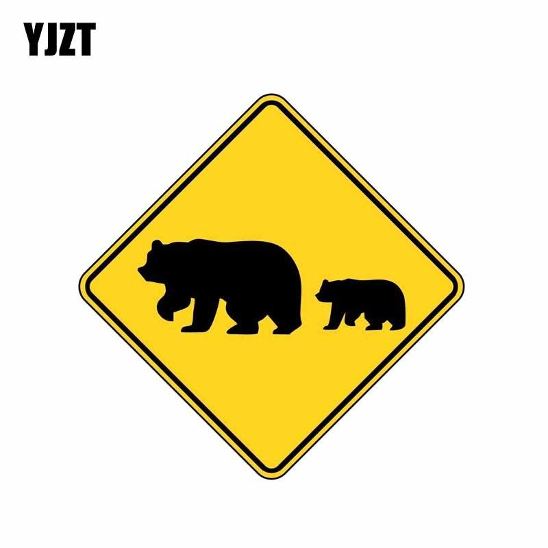 YJZT 14CM*14CM  Warning Animal Bear Creative Reflective Car Sticker PVC Decal 12-0806