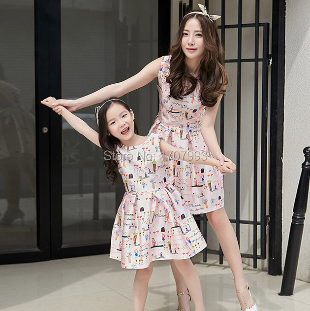mother daughter dresses family looking matching clothes kids floral print  sleeveless baby girls party dress summer a67972c984f3