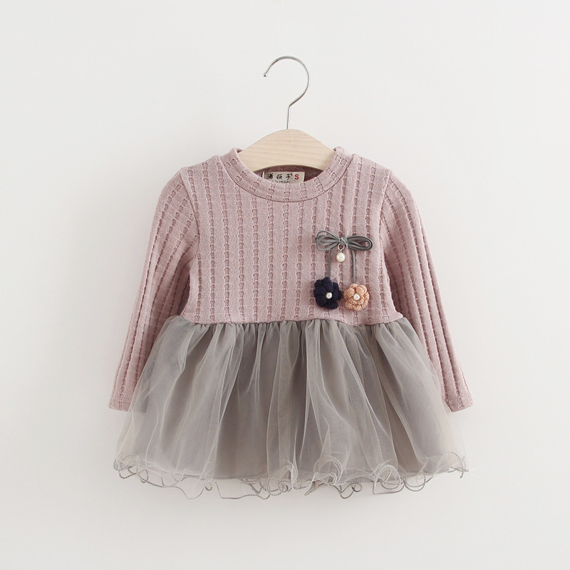 Warm Girl Dress Spring Autumn 2017 Girls Knitted Mesh Children Clothing O Neck Long Sleeved Mini Dresses for Christmas Wedding girls dress winter 2016 new children clothing girls long sleeved dress 2 piece knitted dress kids tutu dress for girls costumes