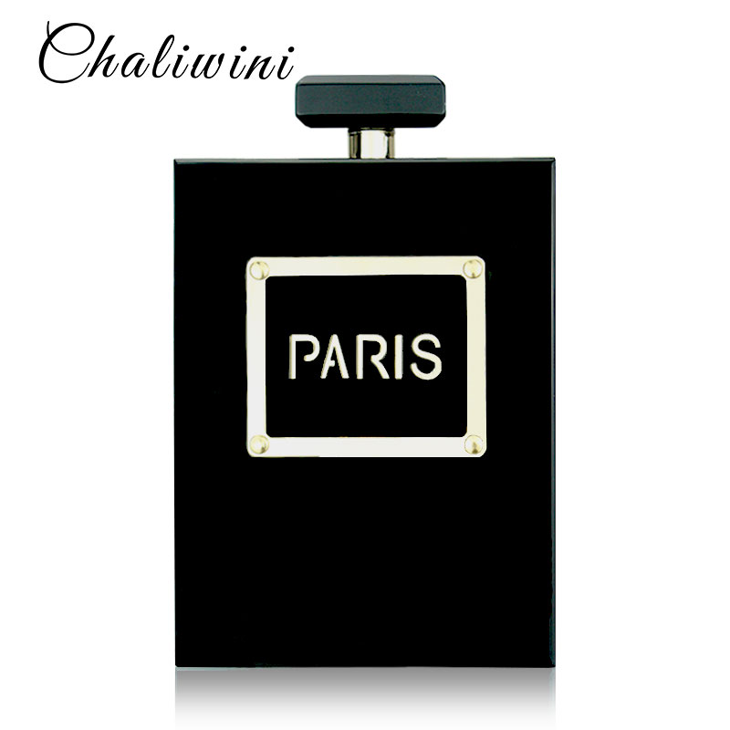 HOT Acrylic Perfume Women Casual Black Bottle Handbags Wallet Paris Party Toiletry Wedding Clutch Evening Bags Purses Handbags