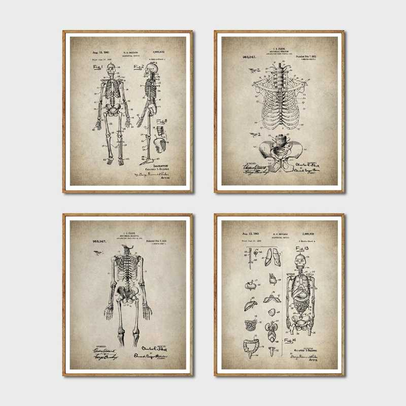 Skeleton Patent Wall Art Prints And Poster , Vintage Skeleton Anatomy Canvas Painting Wall Pictures Doctor Gift Medical Decor