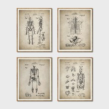 Skeleton Patent Wall Art Prints And Poster , Vintage Skeleton Anatomy Canvas Painting Wall Pictures Doctor Gift Medical Decor(China)