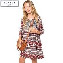 HAYDEN Girls Boho Dress Kids Vintage Dresses Size 12 Years Children Girl Dress 2017 Brand Clothing for Teenagers Bohemian Style