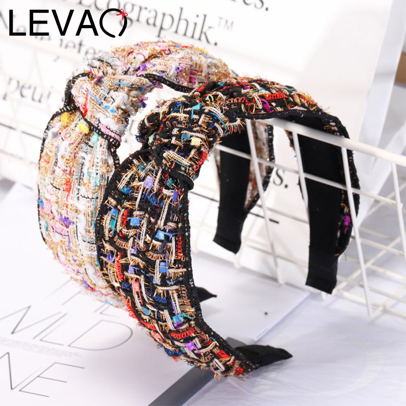 LEVAO New Korean Vintage Headband Women Hairband Solid Knot Bezel Wild Turban Girls Headwear Ladies Hair Hoop Hair Accessories