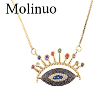 Molinuo New design fashion Pave evil Eye CZ Pendant shiny multicolor  Eyelash Necklace cute necklace women charm Jewelry 2019