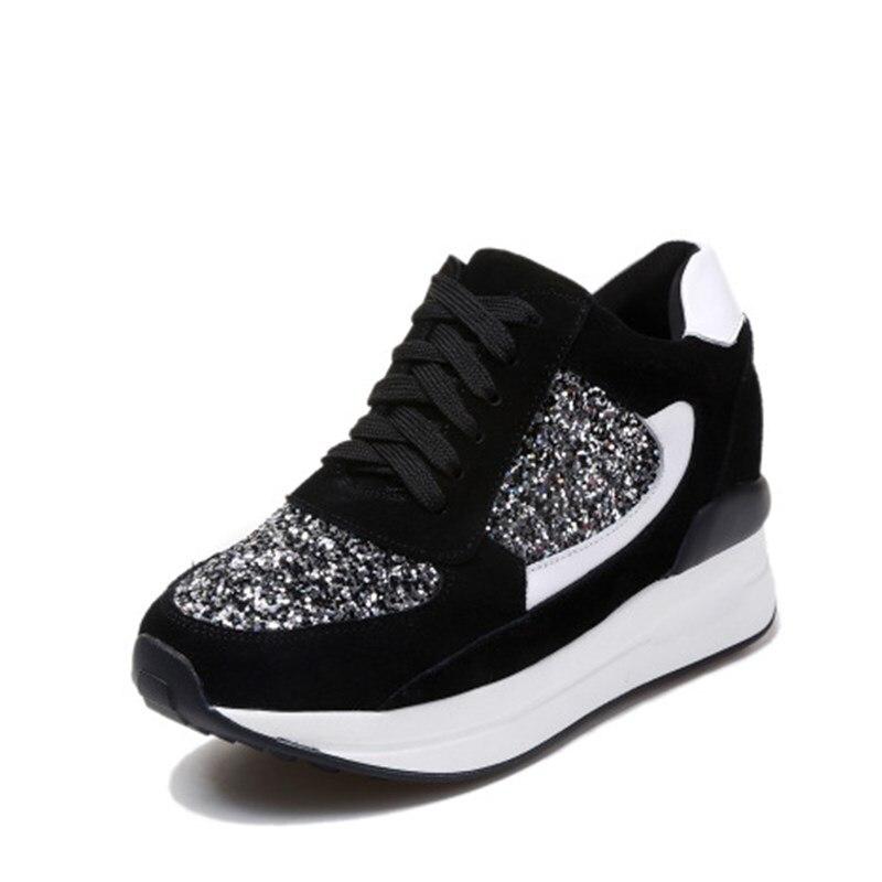 YeddaMavis Vulcaniser Chaussures Printemps Glitter 7 CM Dame chaussures décontractées Hauteur Croissante Sneakers Femme chaussures compensées Femme Zapatos Mujer