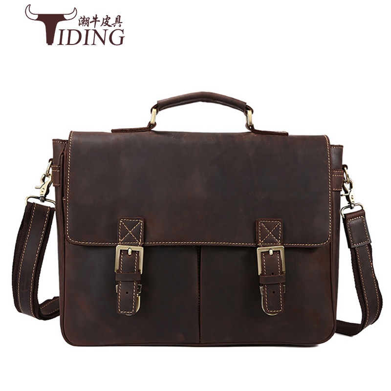 2017 New Famous Brand Casual Men Briefcase Crazy Horse Leather Men's Messenger Bag Male Laptop Bag Men Business Travel Bag