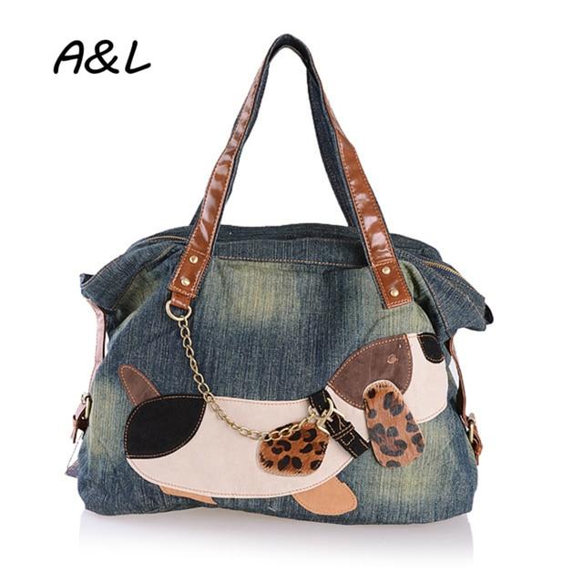 c6fdb1fc95 Women Bag Brand Designer Denim Tote Lady Fashion Casual Handbag Girl Cute  Animal Dog Shoulder Bags High Quality Sac Bolsas A0122