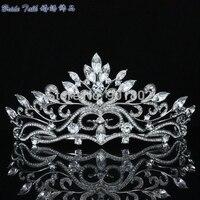 2014 New High Quality Clear Austrian Rhinestone Crystals Flower Tiara Crown For Bridal Wedding Jewelry Accessories