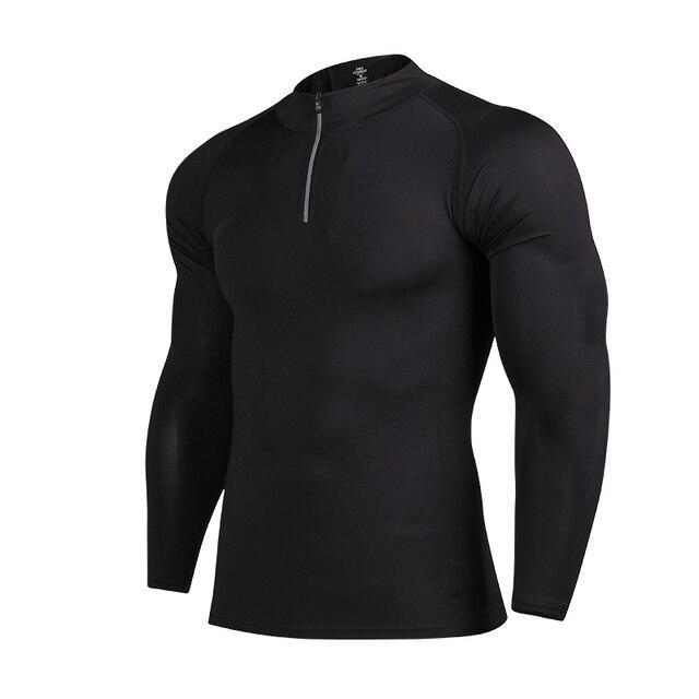 d86cc1d3 EU Mens Fitness Shirts Men Long Sleeve T Shirts Quick Dry Fit Running Shirts  Mens All Black T shirt Bodybuilding Compression Top