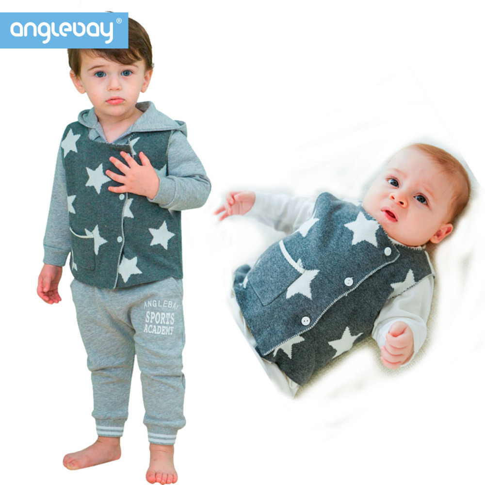 Anglebay White Star Baby Jumper Winter Hooded Jacket Coat Outerwear Waistcoat Jacket 100% Cotton Newborn Baby Outerwear Jumper