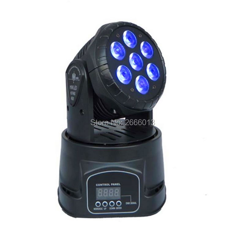 LED 7X12W RGBW 4in1 Moving Head Light DMX512 Rotating DJ Disco Stage Light Party Effect Lighting With LCD Screen Display (Black) 10w disco dj lighting 10w led spot gobo moving head dmx effect stage light holiday lights
