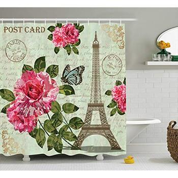 Vixm Paris Dusche Vorhang Shabby Chic Romantische Rosen Blumen Blätter mit  Eiffelturm Abstrakte Schriftzug Stoff Bad Vorhänge