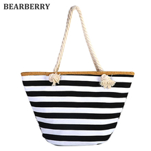 BEARBERRY 2017 women Straw shoulder bags large size beach bags fashion striped travel bags book bags for girls canvas totes